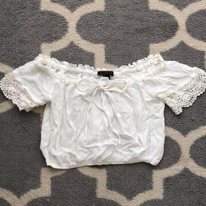 White Off The Shoulder Crochet Peasant Blouse Top
